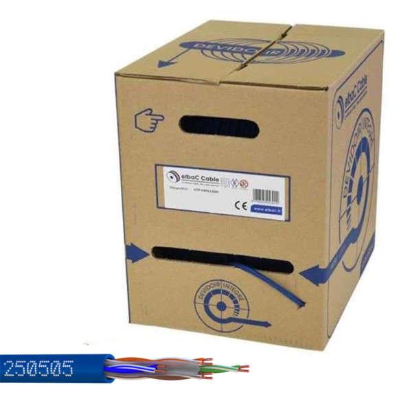 CABLE UTP CAT-6, 4 X 2 X 23AWG, BLEU, HALOGEN FREE, BOBINE 500M