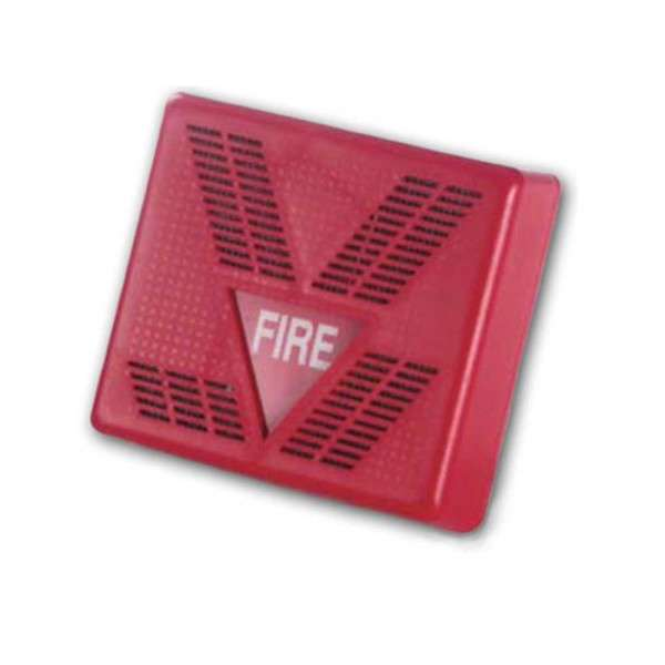 SIRENE INT. INCENDIE 2 TONS, ABS, 90DB, 16-28VDC, 130MA, +LED, ROUGE