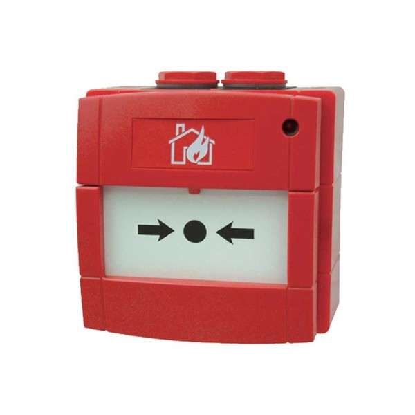 BOUTON POUSSOIR INCENDIE, IP67, ELEMENT FLEX. CONTACT NO/NC, ROUGE