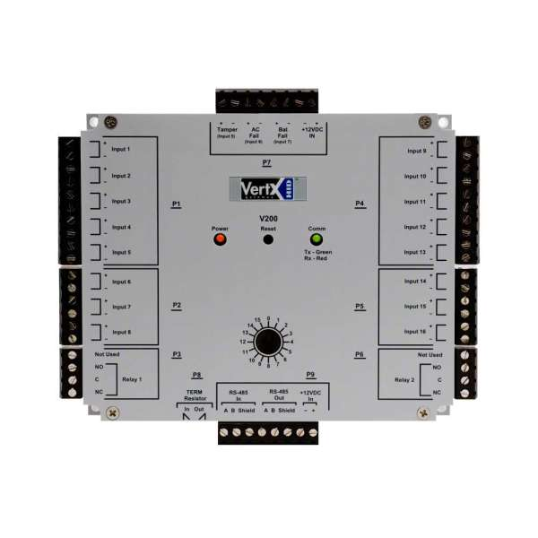 MODULE D'ENTREES VERTX V200 HID, 16 ENTREES, RS485, 3 ENTREES MONITOR