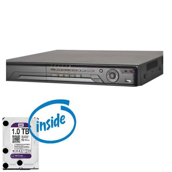 DVR HD-TVI 16CAM +8IPC +AUDIO, 25IPS 720P, 15IPS 1080P, HDD 1TB (1 SATA)