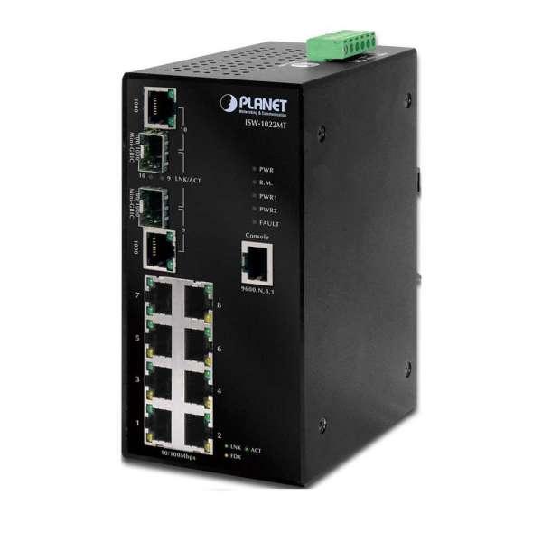 SWITCH 8 LAN + 2 SFP GIGABIT, WEBSMART, INDUSTRIEL (-40/75C°)