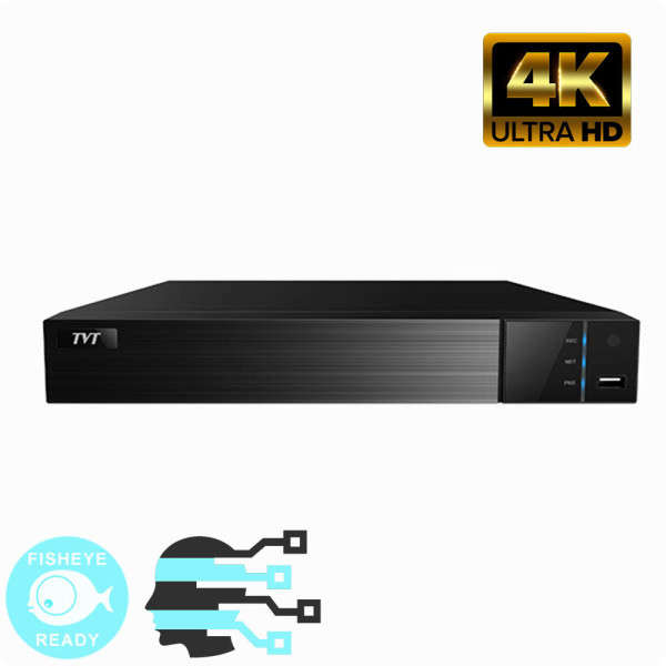 NVR IP 8CH POE +AUDIO, 8MP@25FPS, 1SATA, HDMI 4K, FISHEYE & FACE, NO HDD