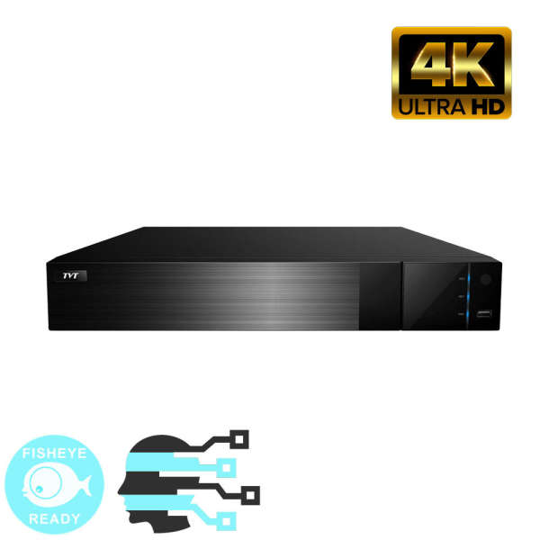 NVR IP 16CH POE,8MP@25FPS,ONVIF,4 SATA,HDMI 4K,AL 16IN-4OUT,FISHEYE+FACE