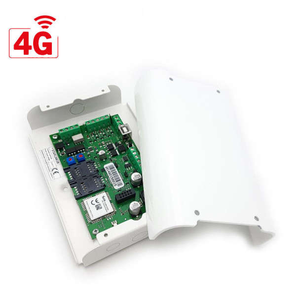 TRANSMETTEUR GSM-4G-LTE, SMS, CONV. CONTACT ID VERS SMS,4 SORTIES +BOX