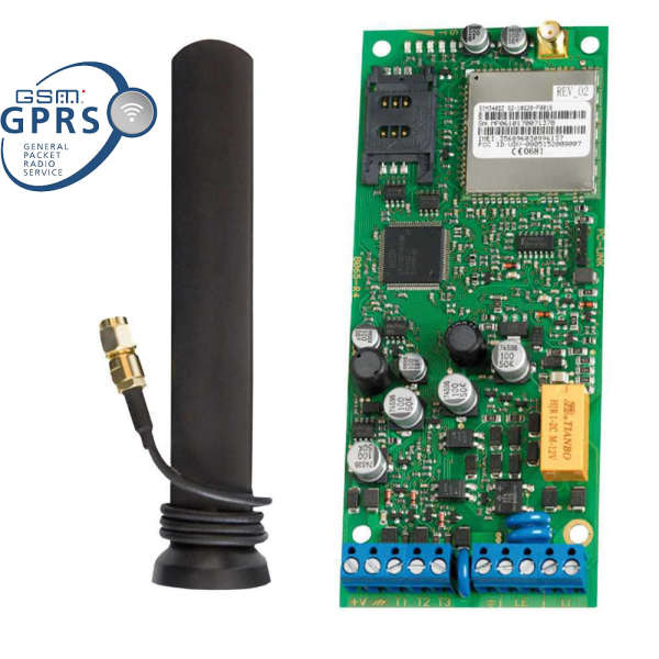 INTERF. GSM GPRS 12-24V, SUP.LIGNE, ANT+2M,3 IN-OUT,100N°,VOX 8 MSG,SMS