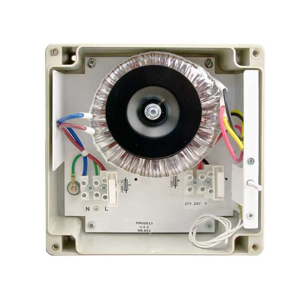 VOEDING 24 VAC/4A IN BOX IP65 MET ZEKERINGEN (AFM.160X160X90MM)