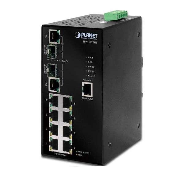 SWITCH 8 LAN + 2 SFP GIGABIT, WEBSMART, INDUSTRIEEL (-40/75C°)