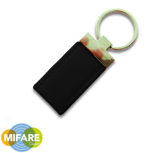 PROXIMITY TAG, MIFARE, LEDER/METAAL, VOOR ICE & A500+, ZWART