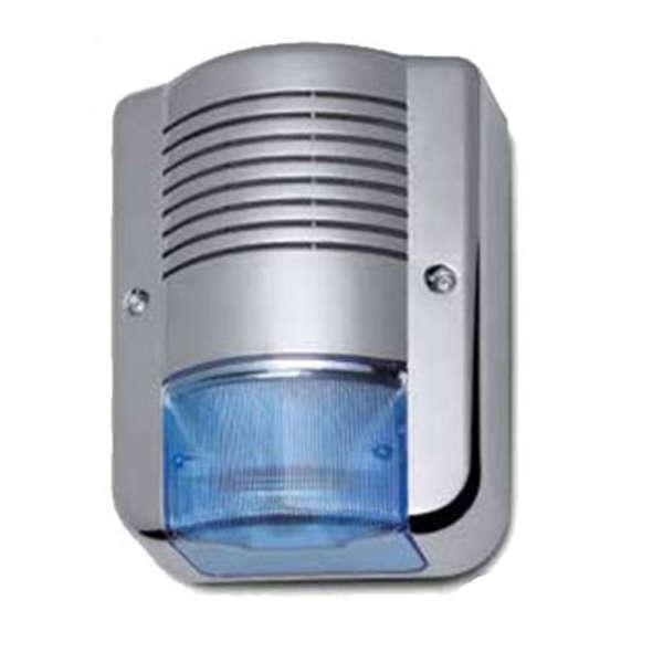 BUITENSIRENE +LED FLASH +2 LED INFO, POLYCARB. CHROME, 105DB