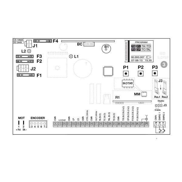 BESTURINGSPRINT VOOR SLX1524 EN SLX324 MOTOR MODEL MET LCD