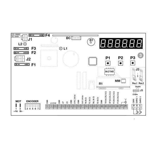 BESTURINGSPRINT VOOR SL1524 MOTOR OUD MODEL ZONDER LCD